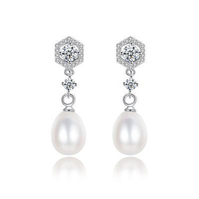 Elegant Natural Pearl CZ 925 Sterling Silver Dangling Earrings