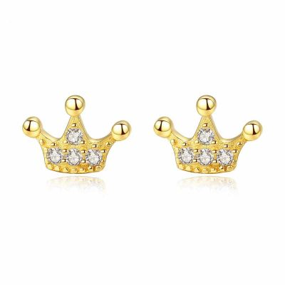 Party CZ Crown Queen 925 Sterling Silver Stud Earring