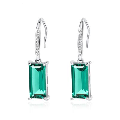 Holiday Natural Treated Crystal Rectangle CZ 925 Sterling Silver Dangling Earrings
