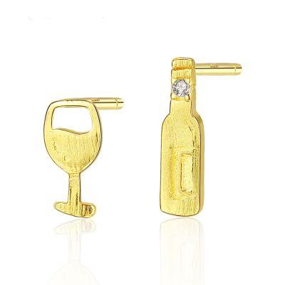 Asymmetric Wine Glass Bottle 925 Sterling Silver Studs Earrings