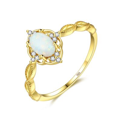 Party Oval Created Opal Twisted CZ 925 Sterling Silver Ring