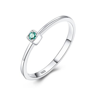 2019 Hot Sale CZ Square 925 Sterling Silver Ring