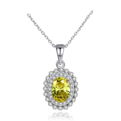 Party Oval Natural Treated Crystal CZ 925 Sterling Silver Necklace