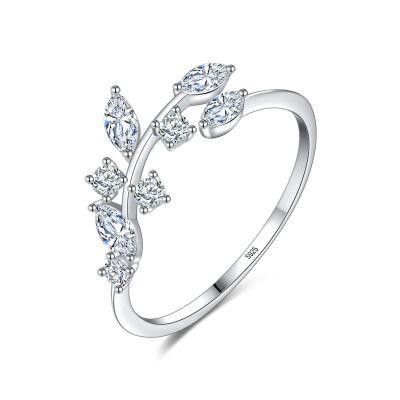 2019 Hot Sale CZ Leaves Vine 925 Sterling Silver Adjustable Ring