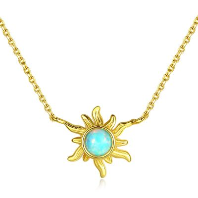 Friend's Created Opal Sunflower 925 Sterling Silver Necklace