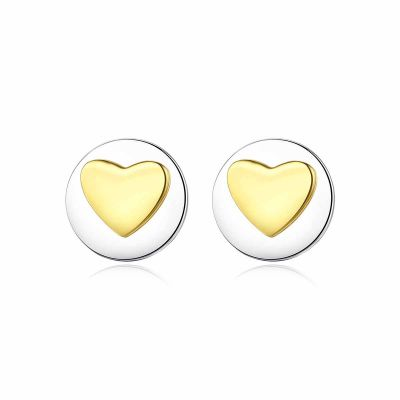 Honey Moon Double Round Heart 925 Sterling Silver Studs Earrings