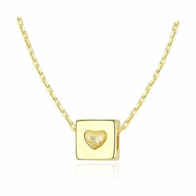 Graduation Heart Cube 925 Sterling Silver Necklace