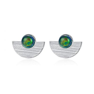 Semicircle Created Opal Round 925 Sterling Silver Stud Earrings