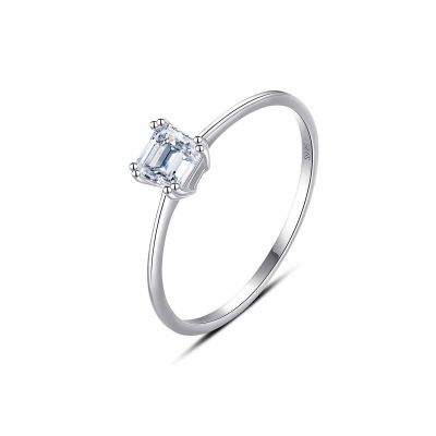 Modern CZ Hollow Square 925 Sterling Silver Ring
