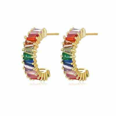 Colorful CZ C Shape 925 Sterling Silver Stud Earrings