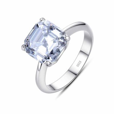 Geometry CZ Radiant 925 Sterling Silver Ring