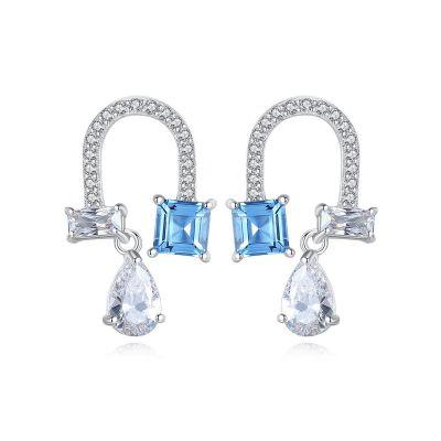 Elegant Blue Created Topaz Waterdrop CZ U Shape 925 Sterling Silver Dangling Earrings