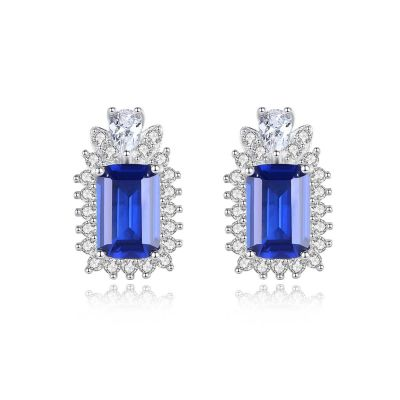Elegant Blue CZ Geometry Baguette 925 Sterling Silver Stud Earrings