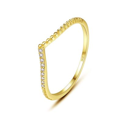 Girl CZ V Shape 925 Sterling Silver Ring