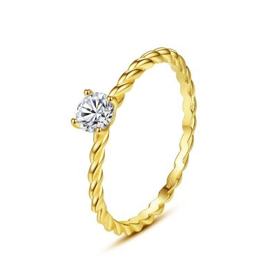 Simple Geometry Round CZ Twisted 925 Sterling Silver Ring
