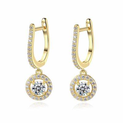 Elegant U Shape Round CZ 925 Sterling Silver Hoop Earrings