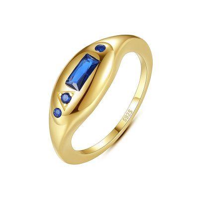Elegant Geometry Blue CZ Rectangle 925 Sterling Silver Ring