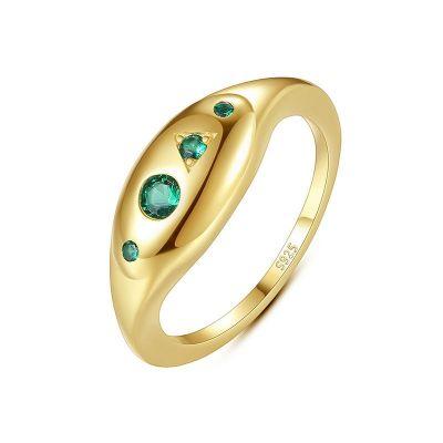 Elegant Green CZ 925 Sterling Silver Ring