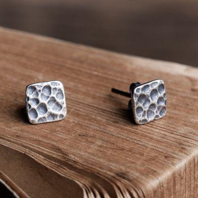 Fashion n Punk Square 925 Sterling Silver Studs Earrings (Single Piece)