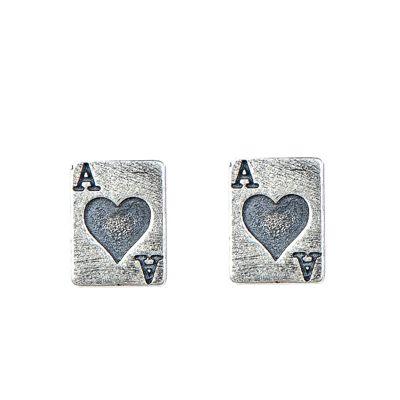 Fashion Red Heart A Poker 925 Sterling Silver Studs Earrings (Single Piece)