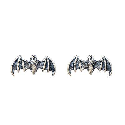 Retro Flying Bats 925 Sterling Silver Studs Earrings (Single Piece)
