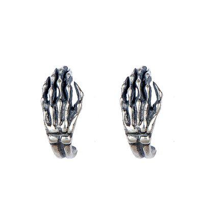 Punk Hand bone 925 Sterling Silver Studs Earrings (Single Piece)
