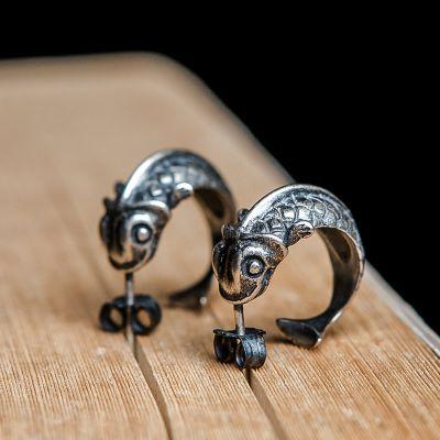 Retro Koi Fish 925 Sterling Silver Earrings (Single Piece)