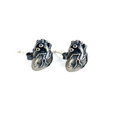 Men's Retro Heart 925 Sterling Silver Studs Earring(Single Piece)