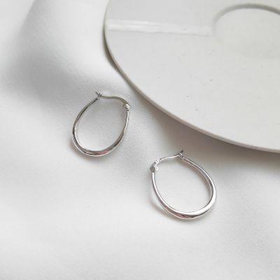 Simple Fashion 925 Silver Horse Hoof Hoop Earrings