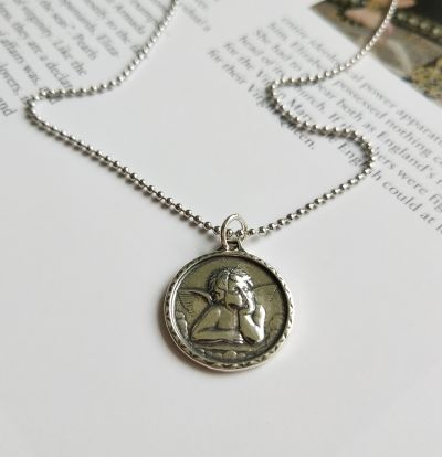 Vintage Baby Angel 925 Sterling Silver Pendant Necklace