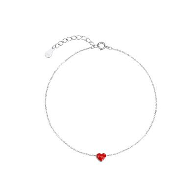 Cute Red Heart 925 Sterling Silver Anklet Girl