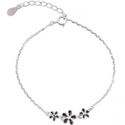 Beautiful Three Black Flowers 925 Sterling Silver Anklet