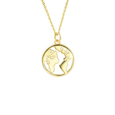 Gift Hollow Earth Map 925 Sterling Silver Adjustable Necklace