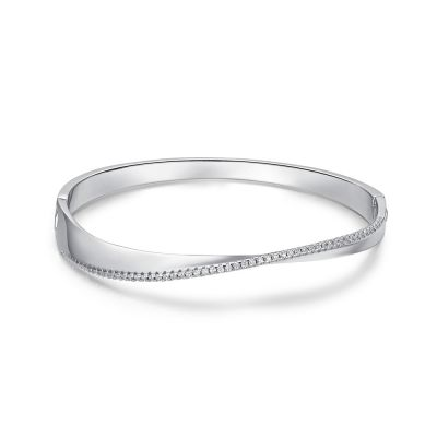 Fashion Twisted 925 Sterling Silver Buckle Bangle