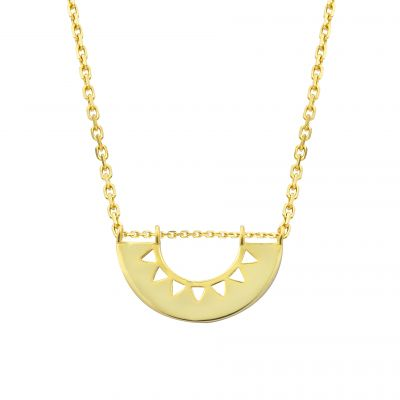 Simple Geometry Semicircle Hollow 925 Sterling Silver Necklace