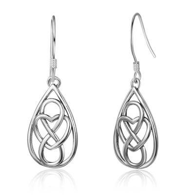 Vintage Heart Knot 925 Sterling Silver Dangle Earrings