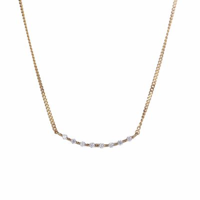Classic Square CZ Smile 925 Sterling Silver Necklace