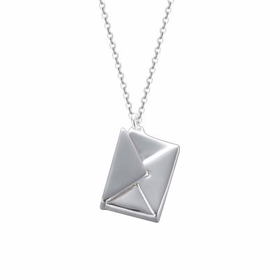 Cute Mini Square Envelope 925 Sterling Silver Necklace
