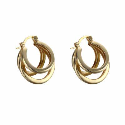 Simple Geometry Three Circles 925 Sterling Silver Hoop  Earring (Single)