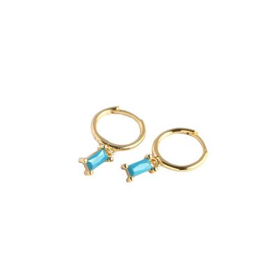 Geometry Rectangle CZ 925 Sterling Silver Hoop Earrings