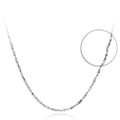 Silver Nugget Crisscross 925 Sterling Silver Chain Collar Necklace 16