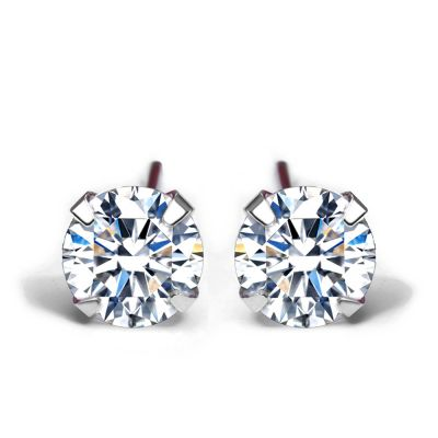 Simple CZ White 925 Sterling Silver Round Studs Earrings