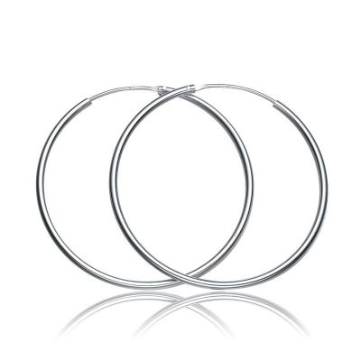 Simple Concise Elegant Women 925 Sterling Sliver Hoop Earrings