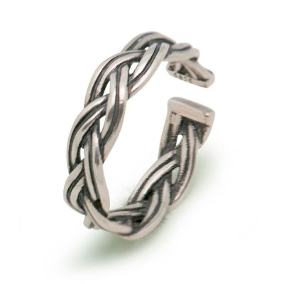 Fashion Vintage Twist Rope Solid 925 Sterling Silver Adjustable Ring Women