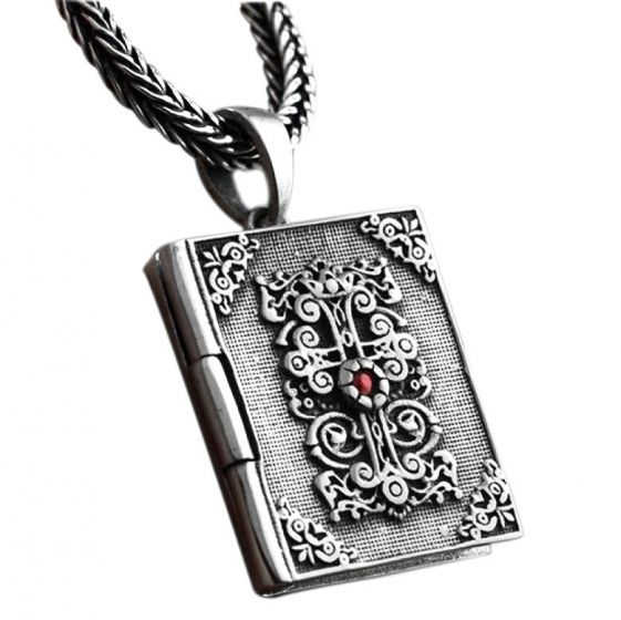 Vintage Lord Bible Cross 925 Sterling Silver Book Pendant
