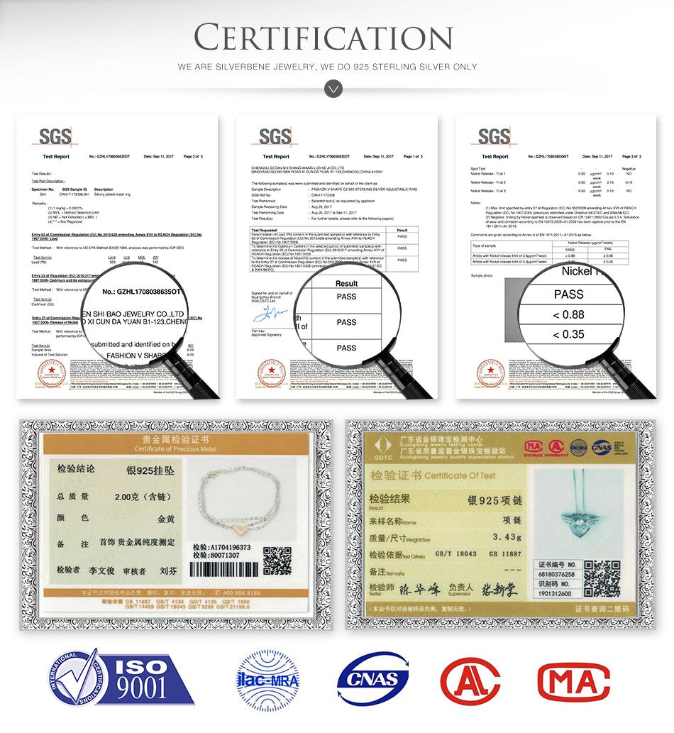 silver bene silver jewelry certificate